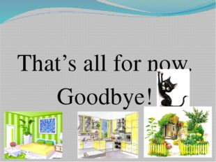 That's all for now. Goodbye!