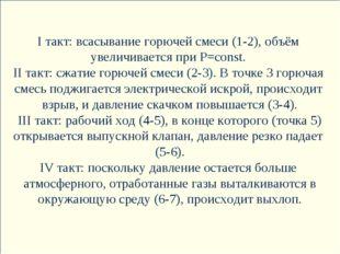 I такт: всасывание горючей смеси (1-2), объём увеличивается при P=const. II т