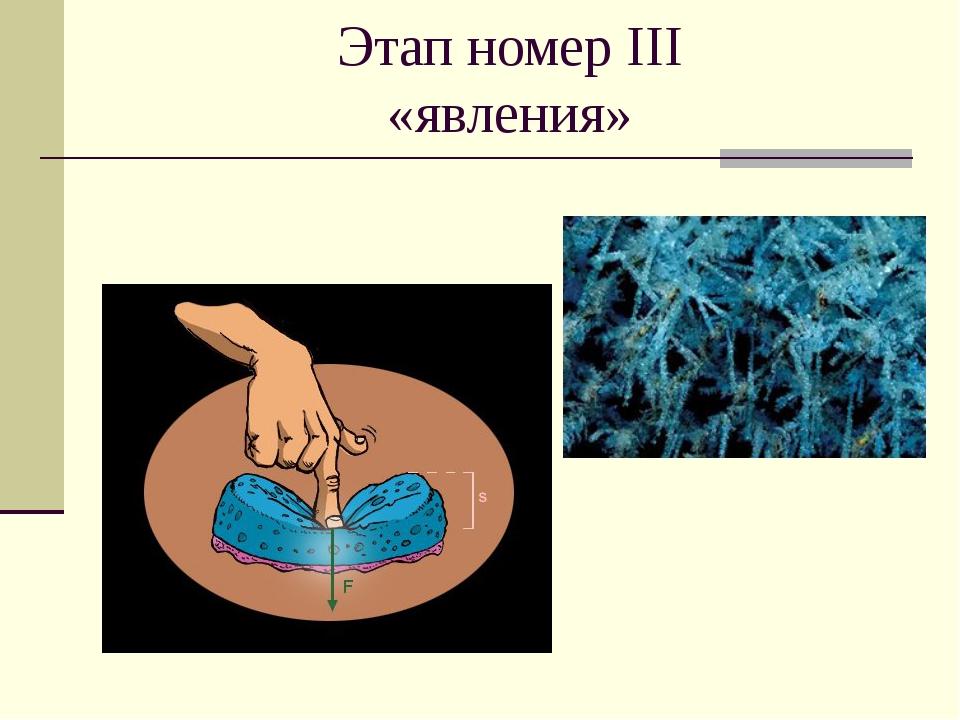 Этап номер III «явления»