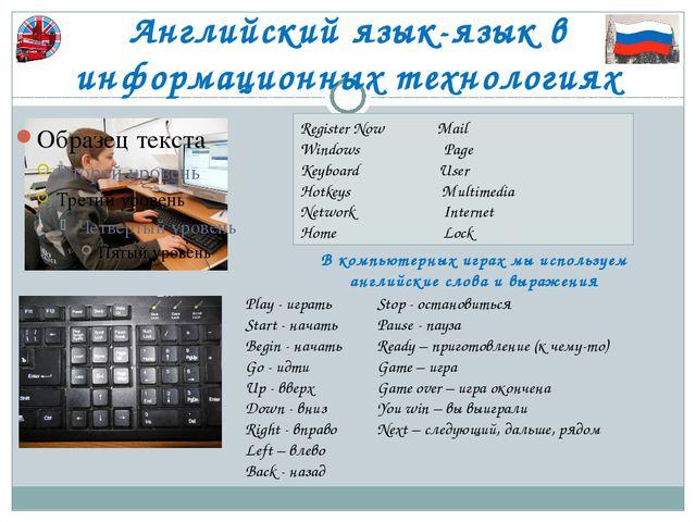 Английский язык-язык в информационных технологиях Play - играть Start - начат...