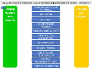 Информационные модели Натурные модели МАТЕМАТИЧЕСКАЯ ФОРМУЛА МАНЕКЕН МУЛЯЖ СБ