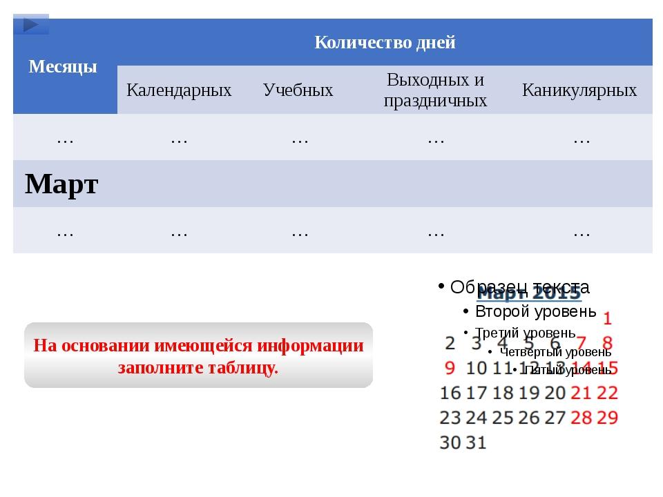 На основании имеющейся информации заполните таблицу. Месяцы Количество дней К...