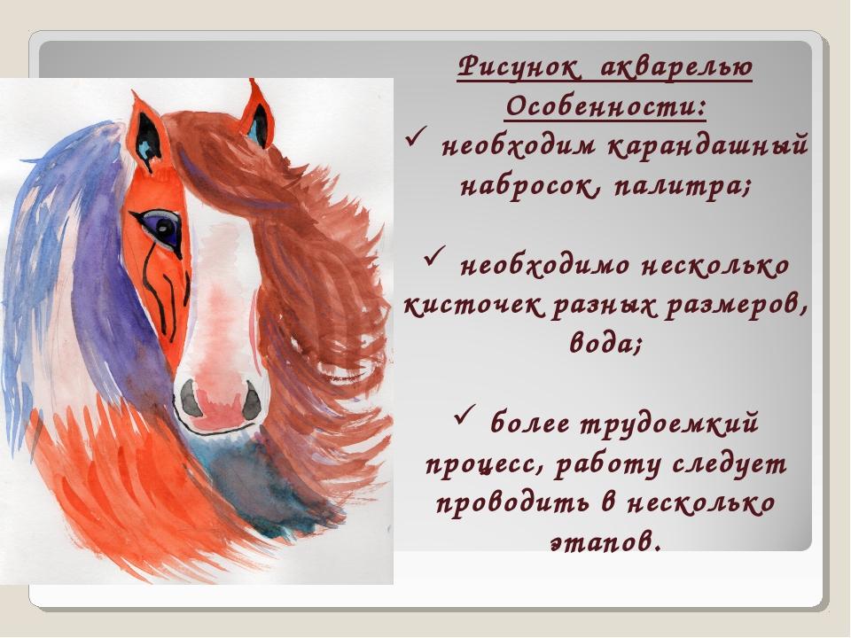 Рисунок акварелью Особенности: необходим карандашный набросок, палитра; необх...