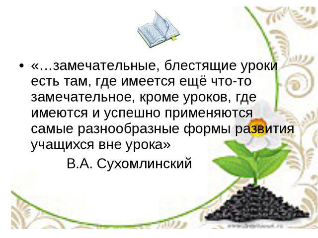 «…замечательные, блестящие уроки есть там, где имеется ещё что-то замечательн...
