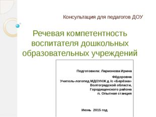 Консультация для педагогов ДОУ Речевая компетентность воспитателя дошкольных