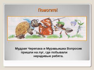 Помогите! Мудрая Черепаха и Муравьишка Вопросик пришли на луг, где побывали н
