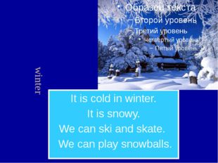 It is cold in winter. It is snowy. We can ski and skate. We can play snowball