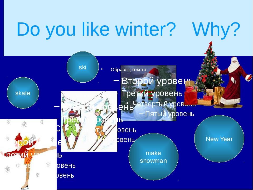 Do you like winter? Why? skate ski make snowman New Year