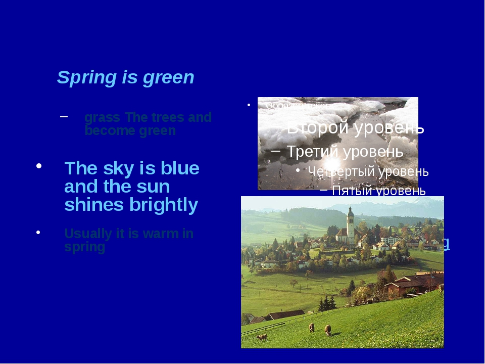 Spring is green grass The trees and become green The sky is blue and the sun...