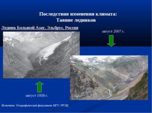 Последствия изменения климата: Таяние ледников август 1958 г. август 2007 г
