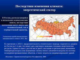 Последствия изменения климата: энергетический сектор В России, располагающей