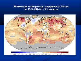 Изменение температуры поверхности Земли за 1914-2014 гг.,°С/столетие