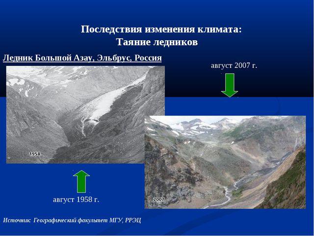 Последствия изменения климата: Таяние ледников август 1958 г. август 2007 г...