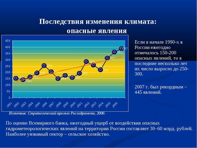 Последствия изменения климата: опасные явления Если в начале 1990-х в России...