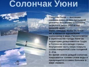 Солончак Уюни Солончак Уюни — высохшее соляное озеро на юге пустынной равнин