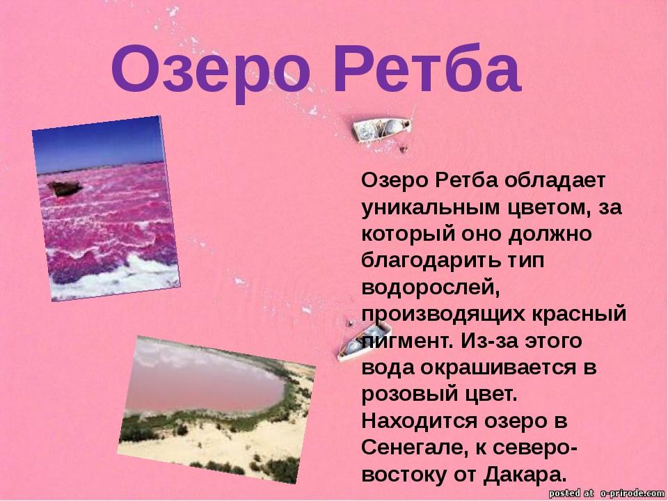 Озеро Ретба обладает уникальным цветом, за который оно должно благодарить тип...