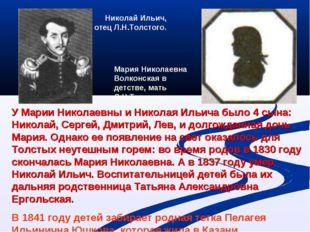 Николай Ильич, отец Л.Н.Толстого. Мария Николаевна Волконская в детстве, мать