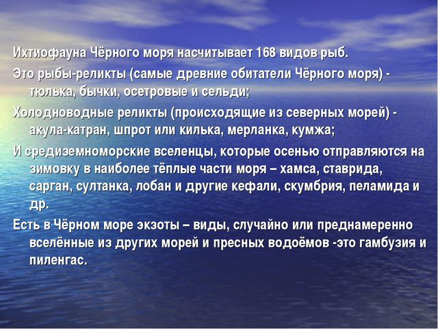 Ихтиофауна Чёрного моря насчитывает 168 видов рыб. Это рыбы-реликты (самые др...