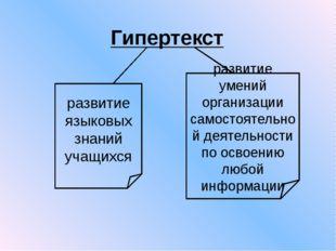 Гипертекст развитие языковых знаний учащихся развитие умений организации само