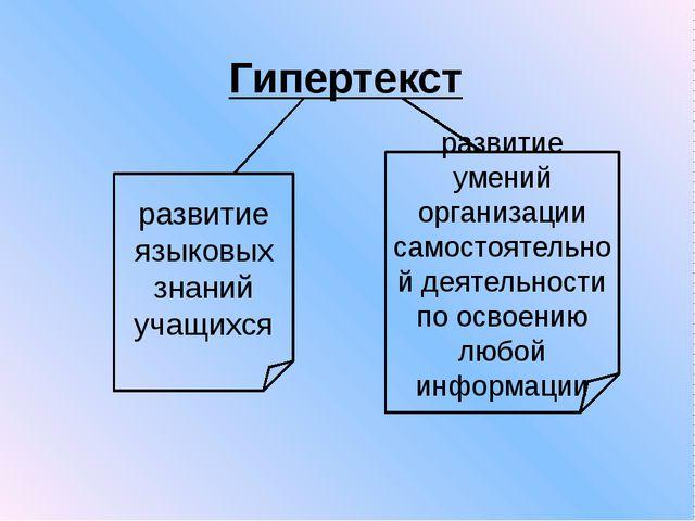 Гипертекст развитие языковых знаний учащихся развитие умений организации само...