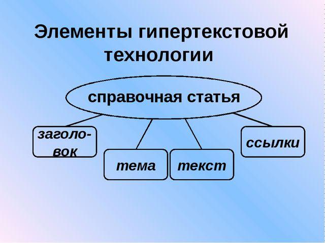 текст ссылки Элементы гипертекстовой технологии заголо-вок тема справочная ст...
