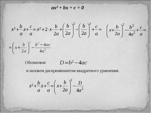 ax2 + bx + c = 0 Обозначим: и назовем дискриминантом квадратного уравнения.