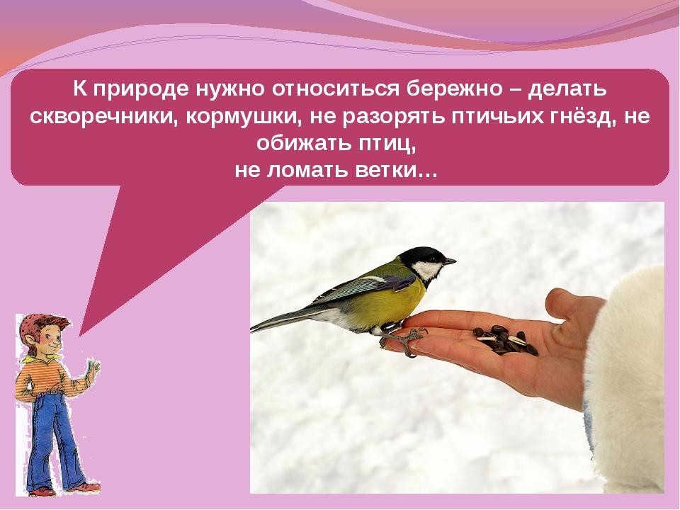 К природе нужно относиться бережно – делать скворечники, кормушки, не разорят...