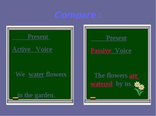Compare : Present Active Voice We water flowers in the garden. Present Passiv