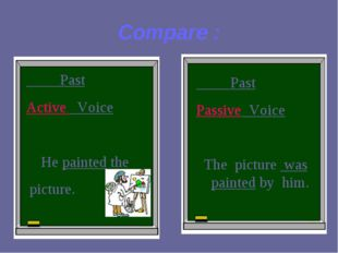 Compare : Past Active Voice He painted the picture. Past Passive Voice The pi