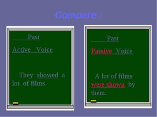 Compare : Past Active Voice They showed a lot of films. Past Passive Voice A
