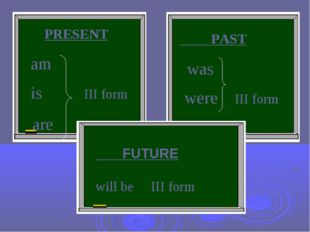PRESENT am is III form are PAST was were III form FUTURE will be III form