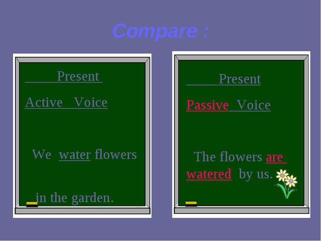 Compare : Present Active Voice We water flowers in the garden. Present Passiv...