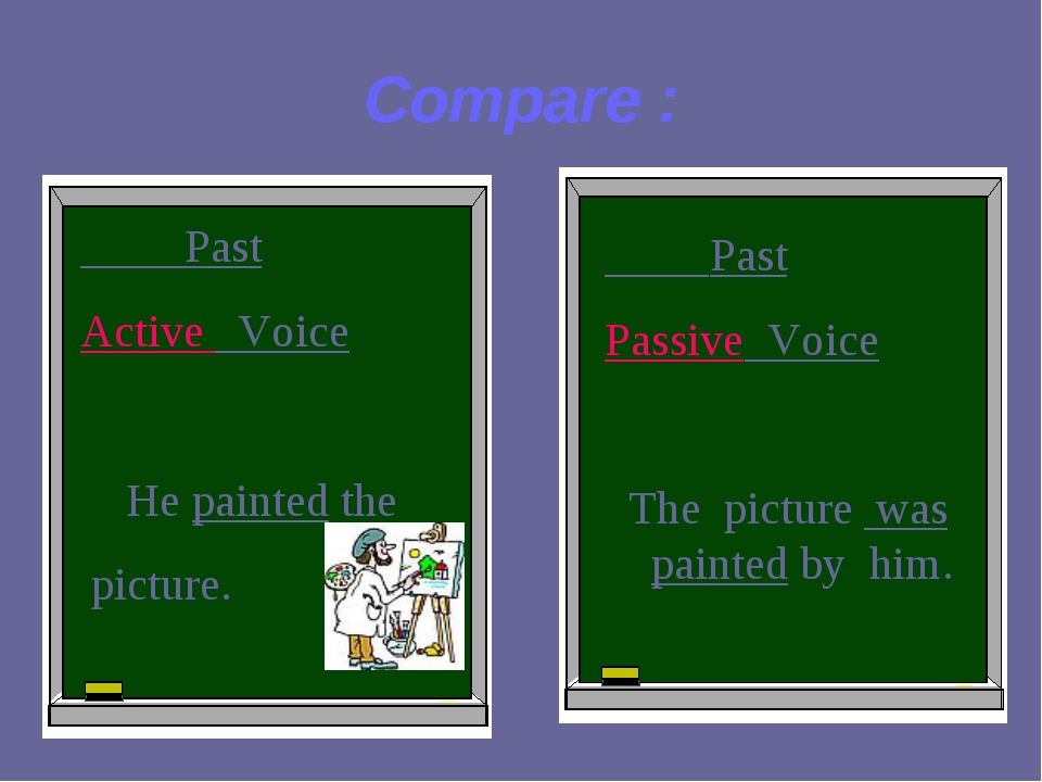 Compare : Past Active Voice He painted the picture. Past Passive Voice The pi...