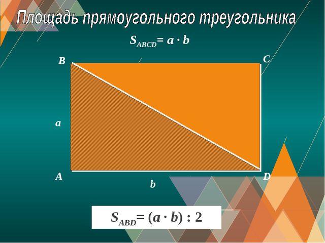 A B C D a b SABCD= a · b SABD= (a · b) : 2