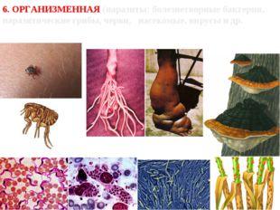 6. ОРГАНИЗМЕННАЯ (паразиты: болезнетворные бактерии, паразитические грибы, че