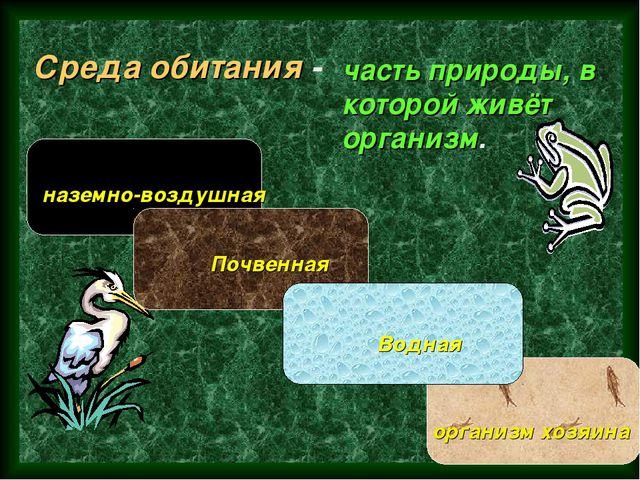 Среда обитания - часть природы, в которой живёт организм. наземно-воздушная П...