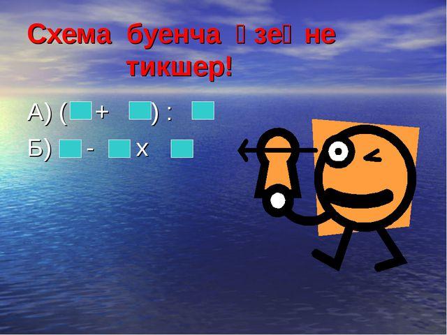 Схема буенча үзеңне тикшер! А) ( + ) : Б) - х
