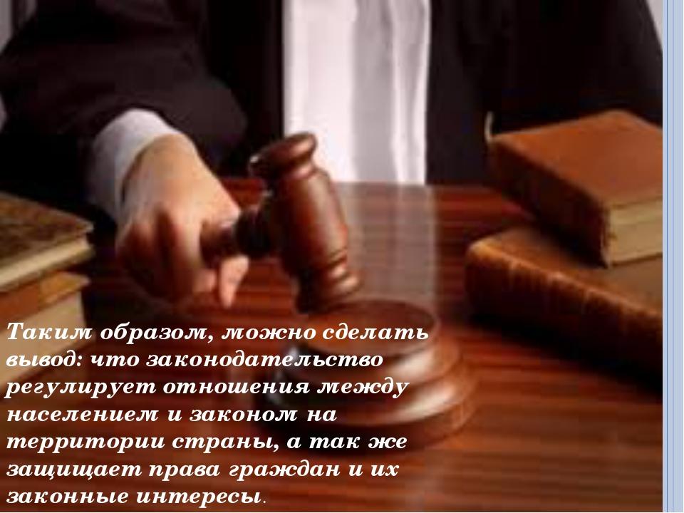 Таким образом, можно сделать вывод: что законодательство регулирует отношения...