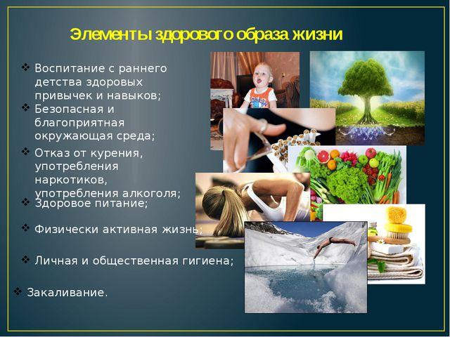 Элементы здорового образа жизни Воспитание с раннего детства здоровых привыче...