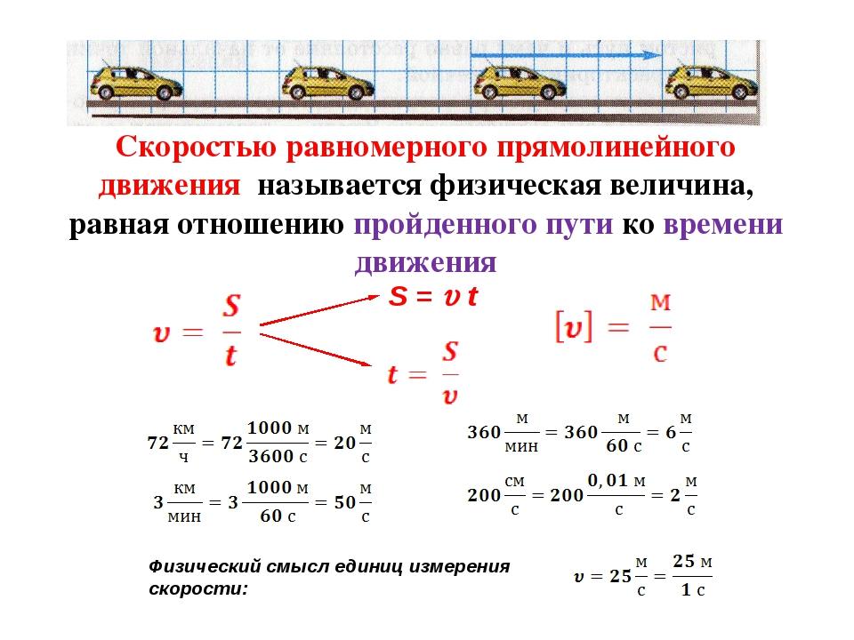 Скоростью равномерного прямолинейного движения называется физическая величина...