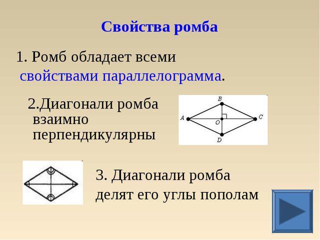 1. Ромб обладает всеми свойствами параллелограмма. 2.Диагонали ромба взаимно...
