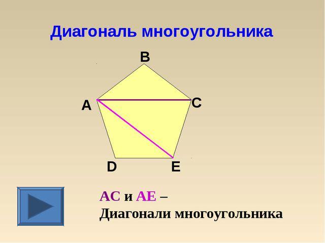 Диагональ многоугольника AC и AЕ – Диагонали многоугольника