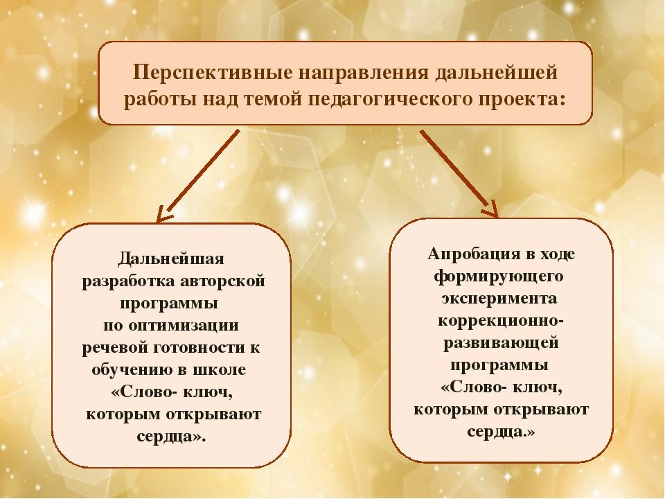 Перспективные направления дальнейшей работы над темой педагогического проекта...