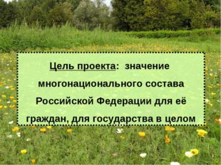Цель проекта: значение многонационального состава Российской Федерации для е