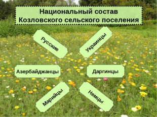 Русские Марийцы Азербайджанцы Даргинцы Украинцы Немцы Национальный состав Коз