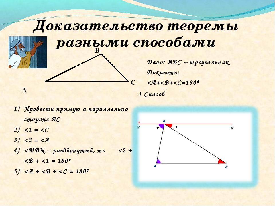 Доказательство теоремы разными способами Дано: АВС – треугольник Доказать: