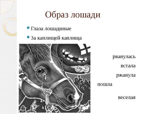 Образ лошади Глаза лошадиные За каплищей каплища рванулась встала ржанула пош...