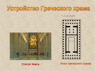 Статуя Зевса План греческого храма