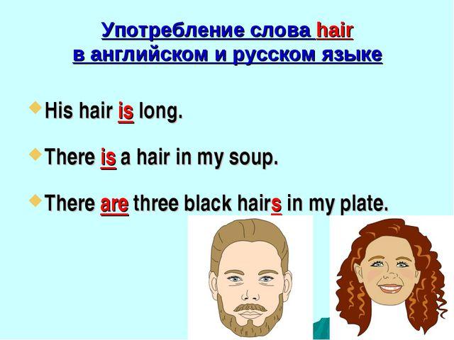 Употребление слова hair в английском и русском языке His hair is long. There...
