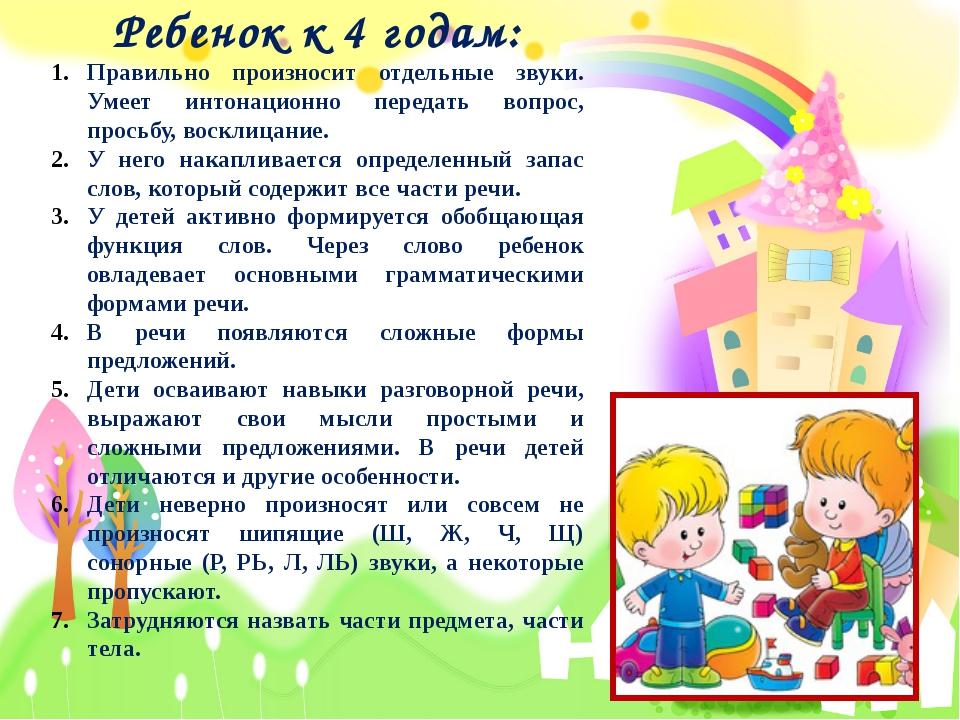 Ребенок к 4 годам: Правильно произносит отдельные звуки. Умеет интонационно...
